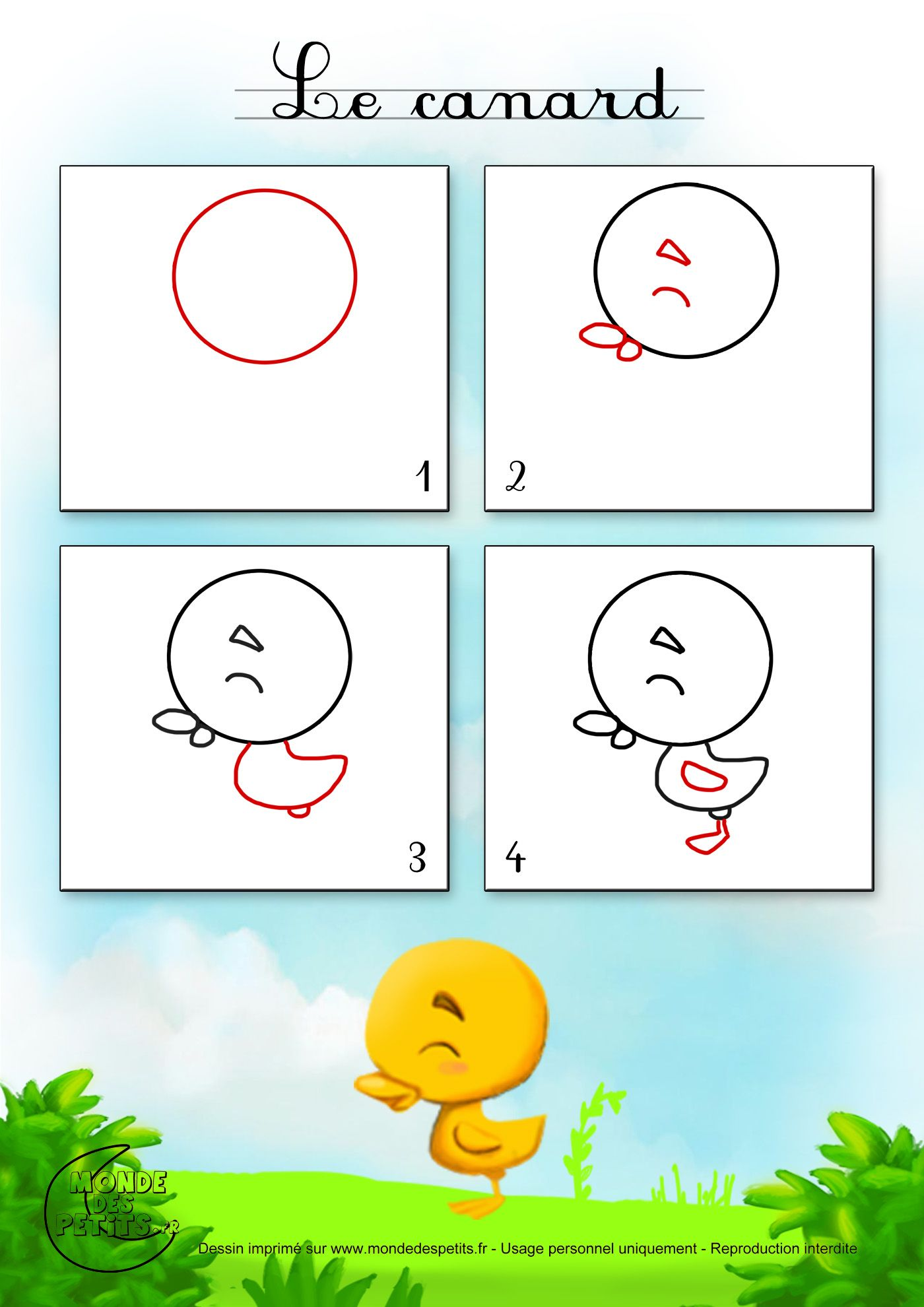 Dessin1 comment dessiner un petit canard j 39 apprends - Apprendre a dessiner des animaux mignon ...