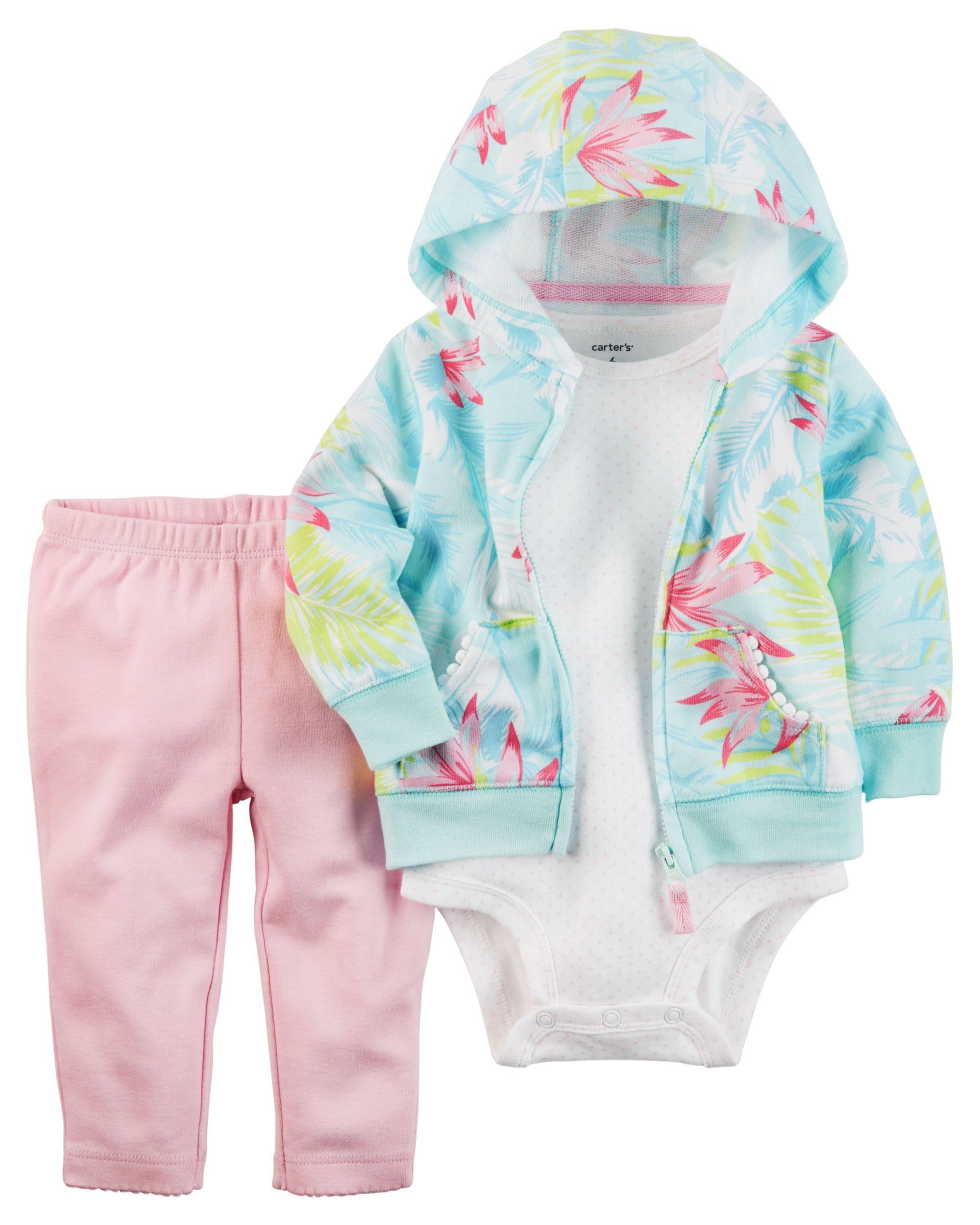 Carters 3 Piece Floral Girls Infant Jacket Hoodie Set
