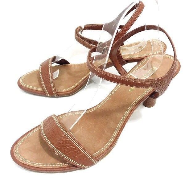 869036f9552b Enzo Angiolini Womens Heel Sandals Brown Leather Ankle Strap Size 9 M Open  Toe  EnzoAngiolini