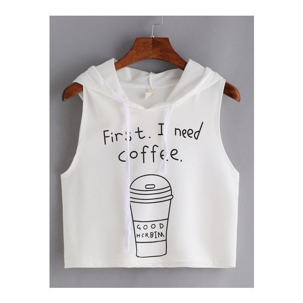 SheIn(sheinside) Coffee Print Hooded Crop Tank Top - White ($8.99) ❤ liked on Polyvore featuring tops, white, white tank top, white crop tank top, cami tank tops, crop tank tops and cami crop top