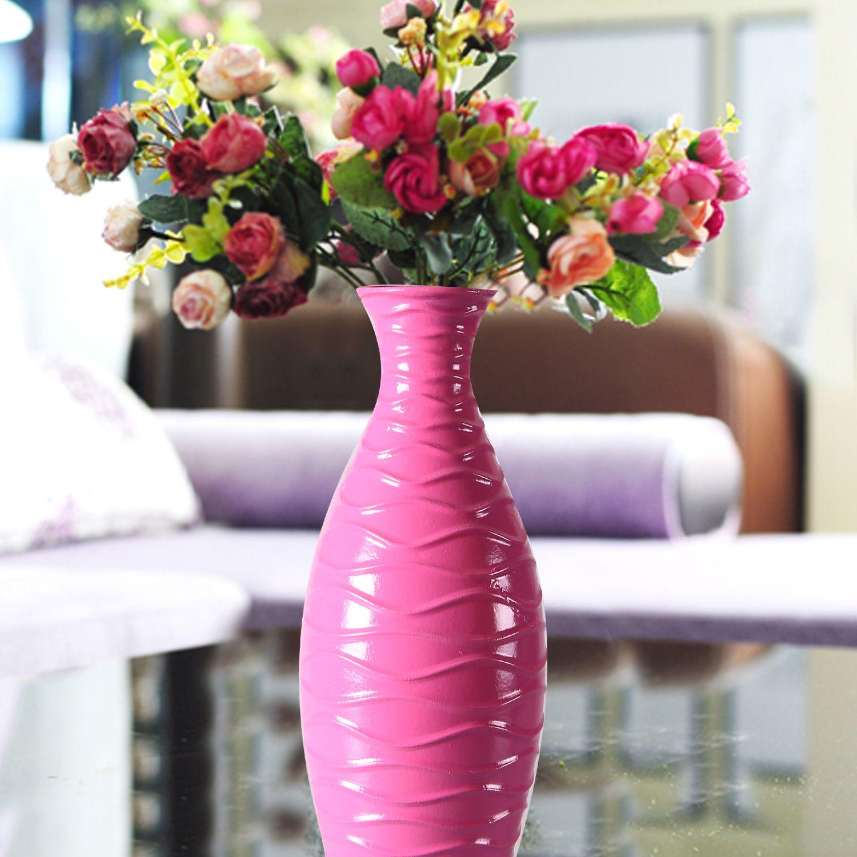 """Adeco Decorative Wood Vase Gloss Finish Horizontal Wave Design 13"""" Rose Pink"""