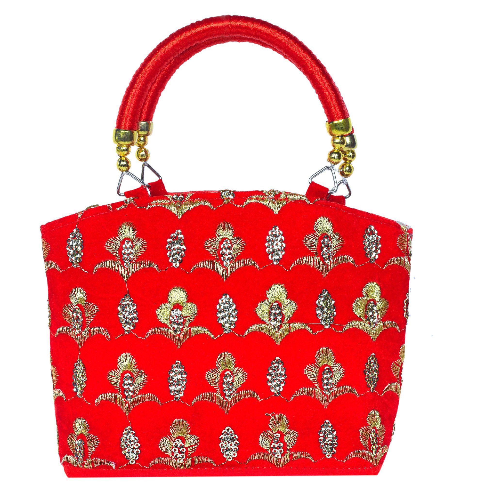 Women's Velvet Traditional Handbag / Attractive Fashion Handbag / Designer Purse / Sequence Work Bridal Handbag / Party Handbag -- Awesome products selected by Anna Churchill