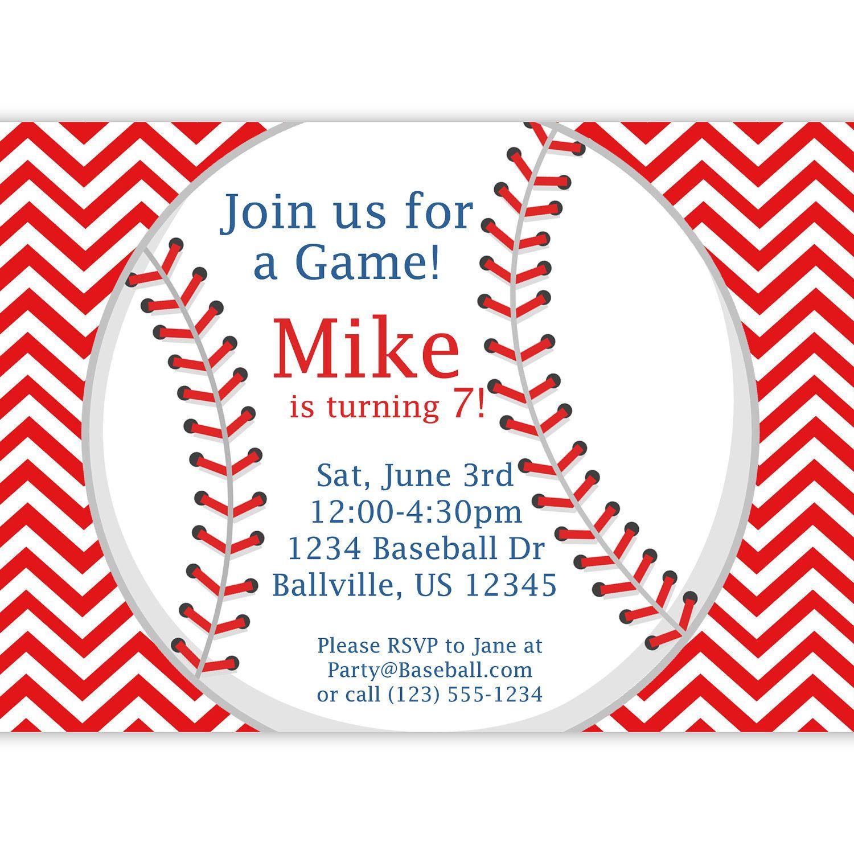 Baseball Invitation - Red Stripe Chevron Baseball Ball ...
