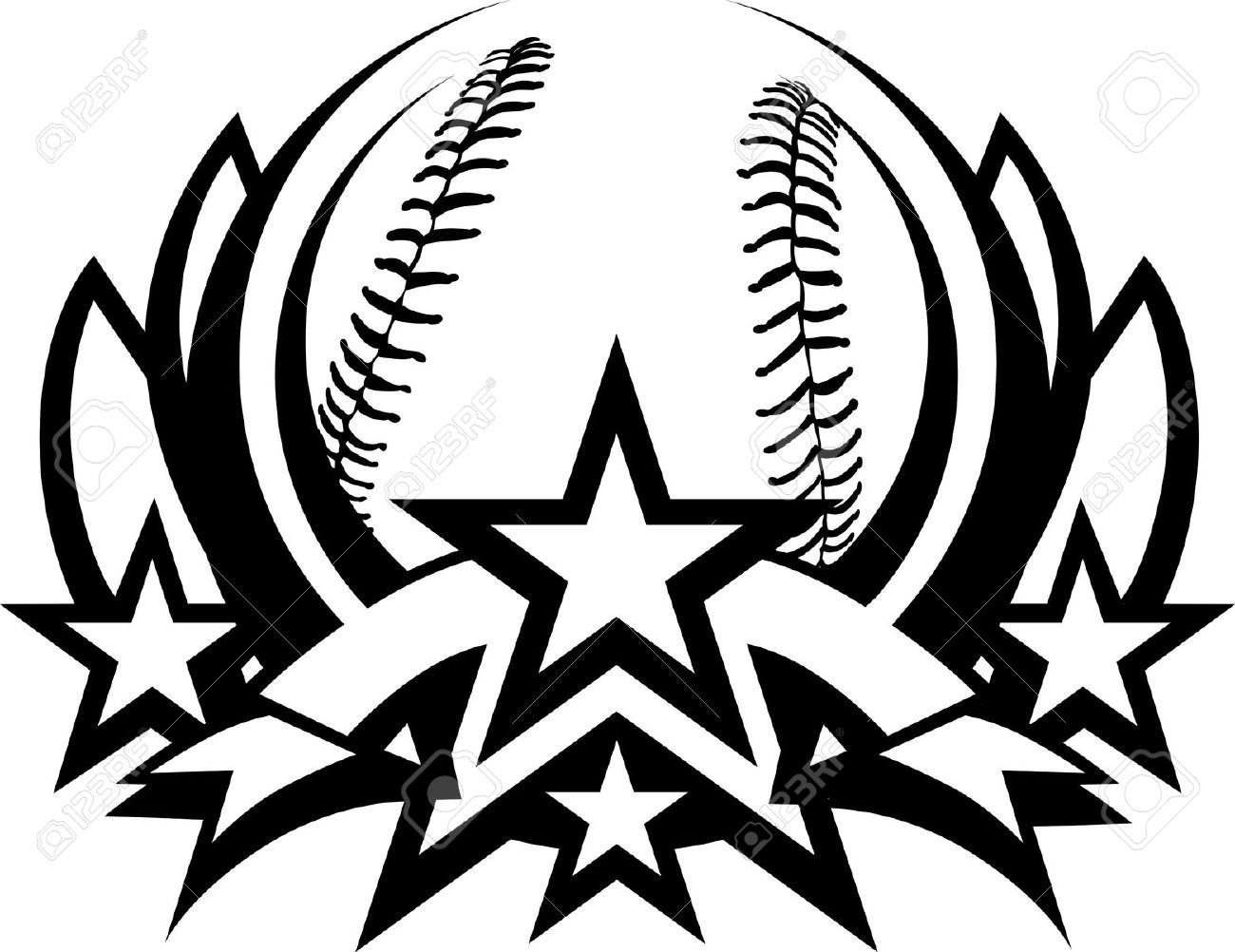 Black And White Clipart Of All Star Baseball Logos Clipartfest Baseball Vector Clip Art Softball Logos