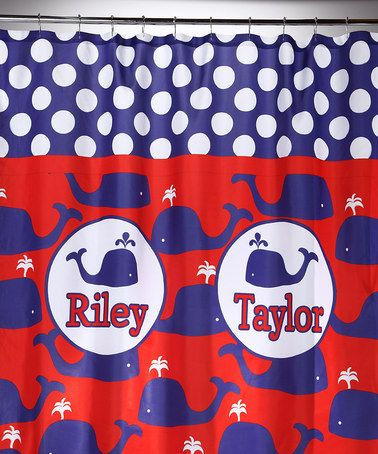 If Only The Kids Had Their Own Bathroom Blue Red Whales Personalized Shower Curtain By Tickled Pink NOLA On Today