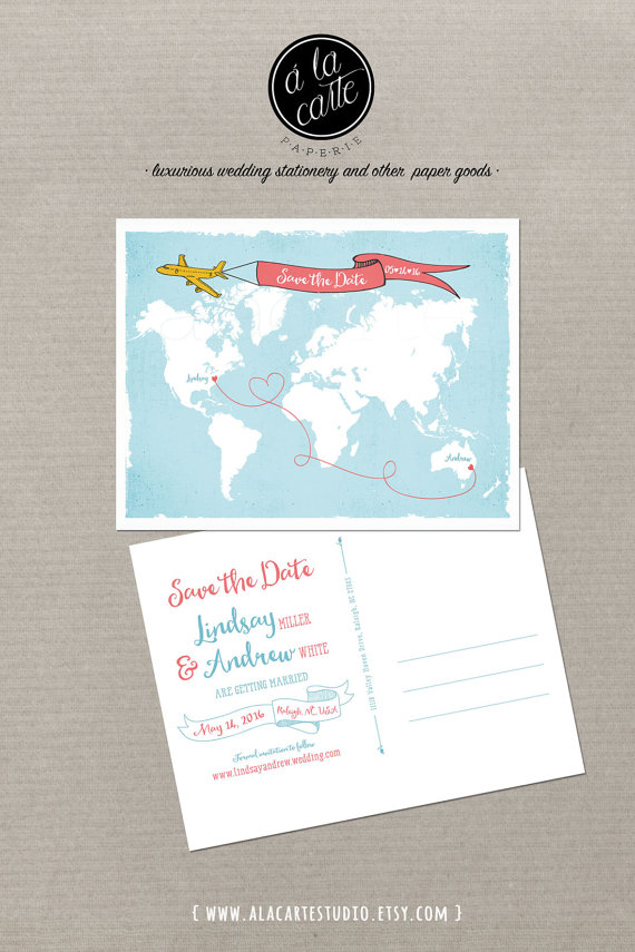 wedding invitations map%0A Destination wedding World map International couple bilingual wedding Save  the Date Card Airplane with Banner USA Australia DEPOSIT PAYMENT