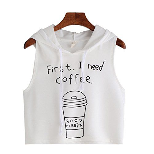 Women BlouseHaoricu Women Fashion Sleeveless Coffee Letter Print Hooded Shirt Casual Short Vest Tops Asian SizeS White *** Click on the image for additional details.Note:It is affiliate link to Amazon.