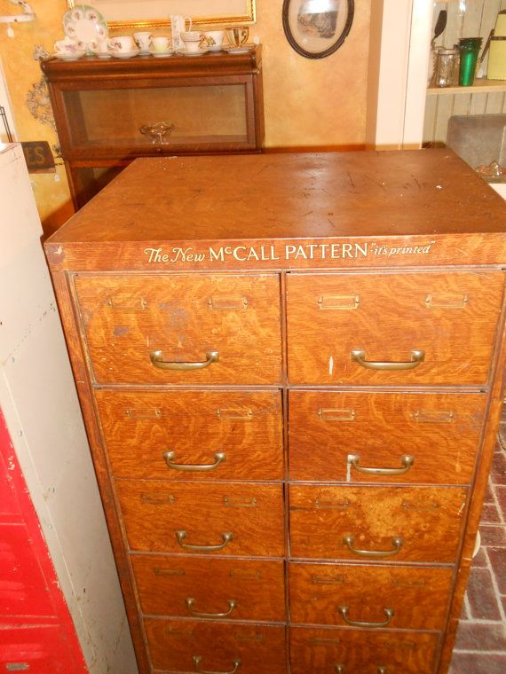 Vintage McCalls Pattern Storage File Cabinet by FirehouseAntiques ...