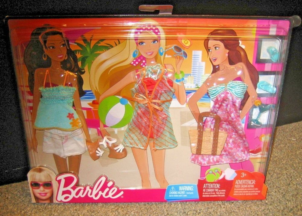 509ce695a BARBIE FASHIONISTAS FASHION ~ BEACHWEAR 3 PACK OUTFIT & ACCESSORIES ~  NEW~2009 #Mattel