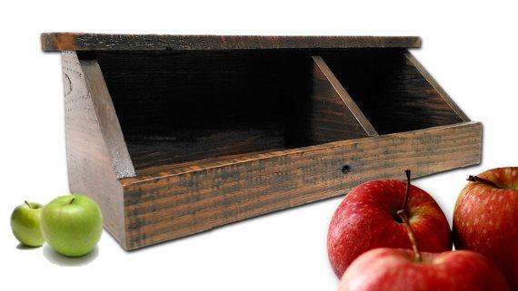Reclaimed Wood Vegetable Bin Kitchen Food by AlleyCatDesignSt