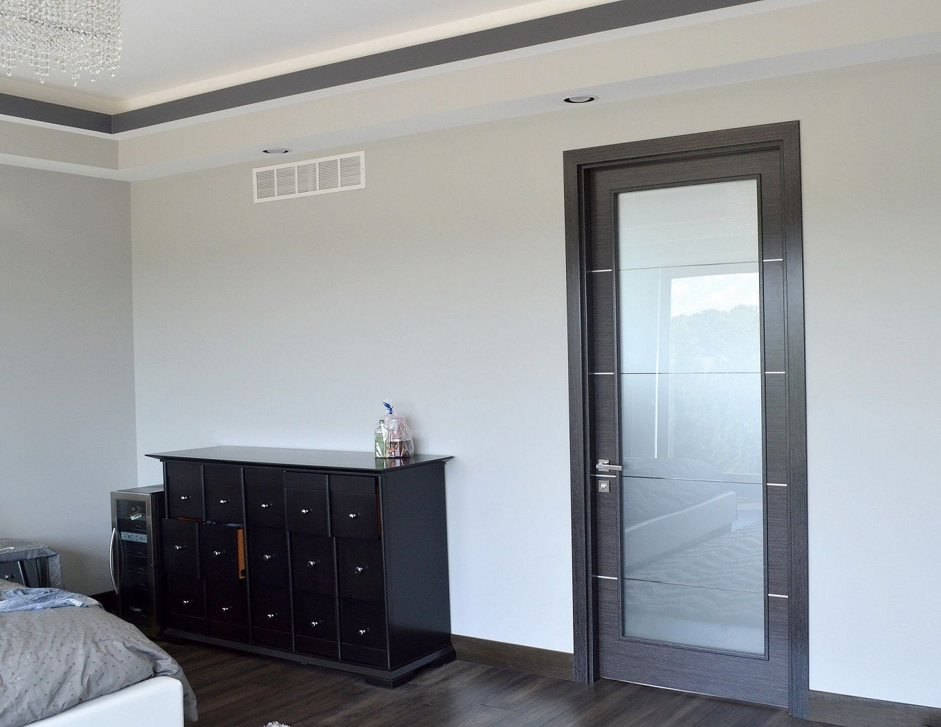 contemporary interior doors with frosted glass with black interior