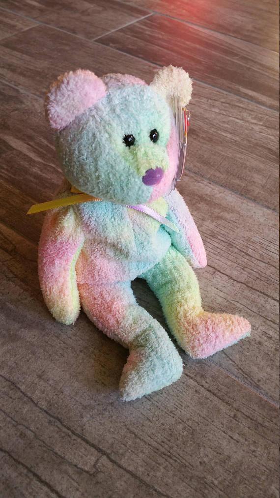 6639379f744 Vintage TY Beanie Baby - Birthday Gift - Pastel Tie Dye - Birthday Decor -  Baby Shower Gift - Rare C