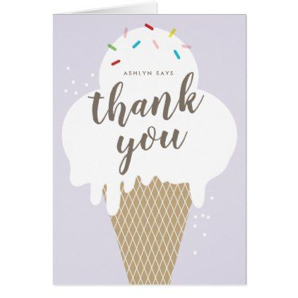 Ice Cream Cone Kids Thank You Note Birthday Party Stuff