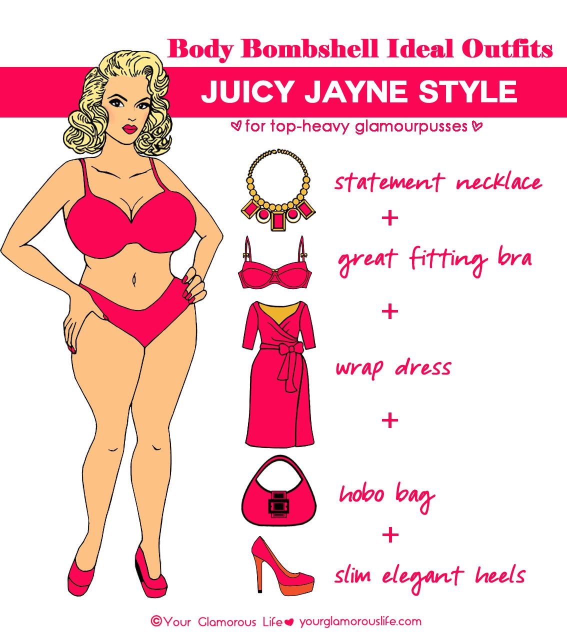 0906610159 An ideal outfit for a Juicy Jayne body type. Featuring Jayne Mansfield.  Illustration by Amanda Lee for Your Glamorous Life. Get your Bombshell Body  Type at ...