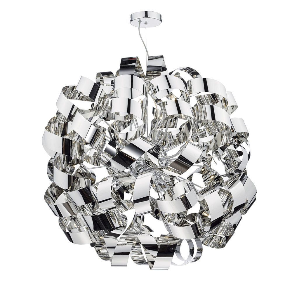 Dar Rawley 12 Light Pendant (RAW1255) with Twisted Metal Ribbons of Polished Chrome