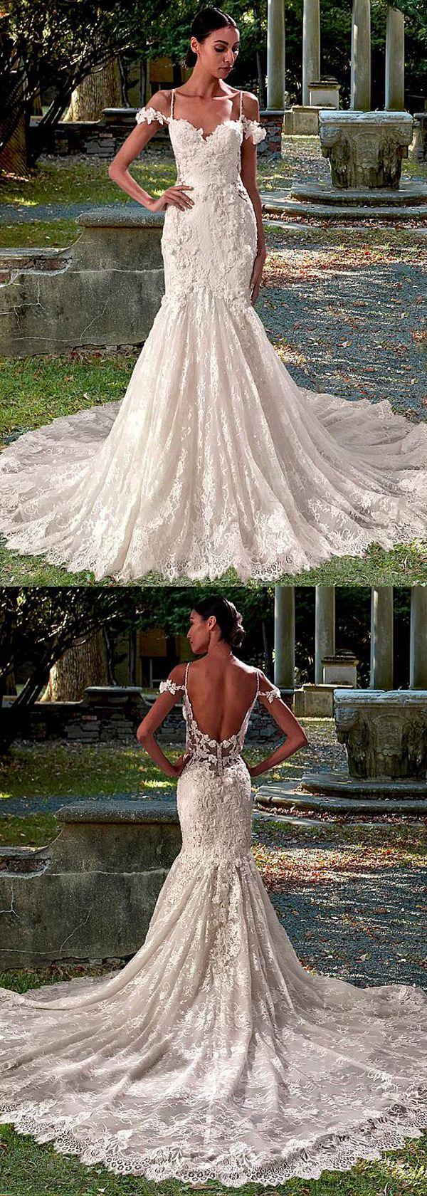 Lace spaghetti strap wedding dress  Amazing Tulle u Lace Spaghetti Straps Neckline Mermaid Wedding Dress