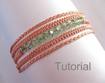 c3c9a139ffe4 Macrame pulsera collar patrón tutorial pdf dos en uno patrón nudos perlas  swarovski verde naranja cómo las instrucciones de micro joyería diy