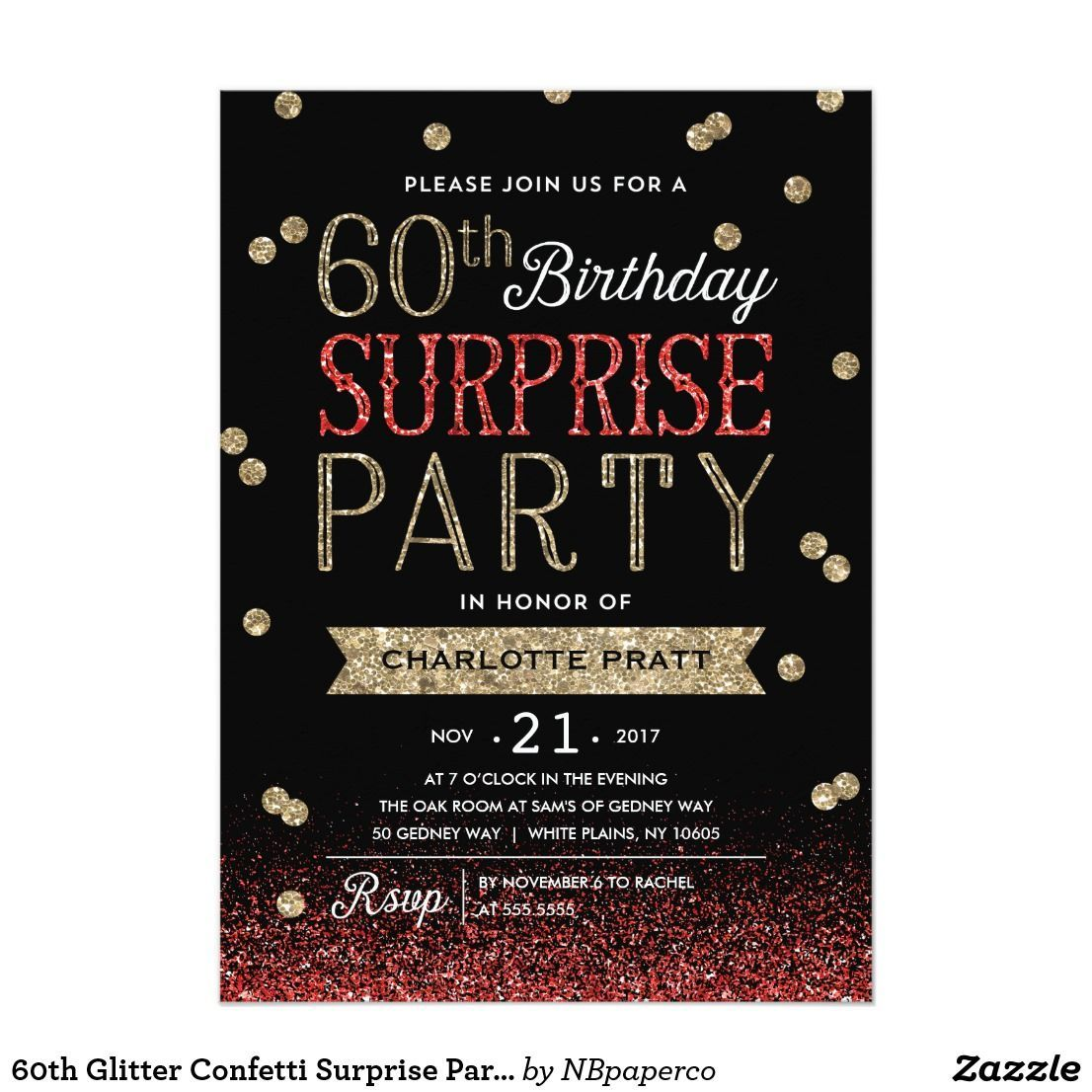 60th Glitter Confetti Surprise Party InvitationThis chic and stylish ...