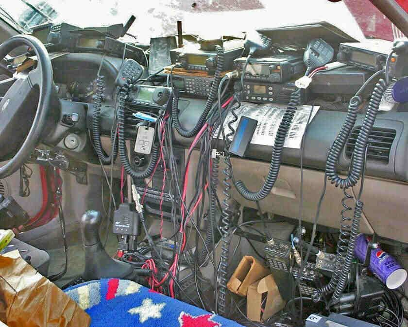 Too much! This is a sloppy and and unsafe ham radio mobile