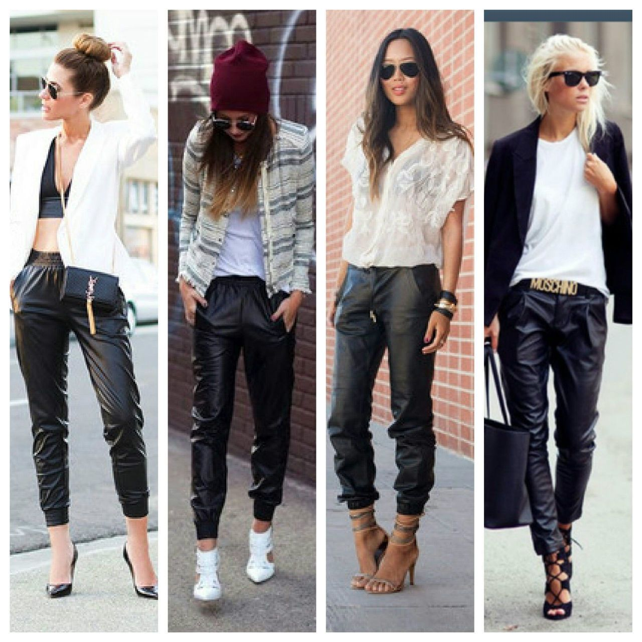19 Comfy Outfits With Leather Jogger Pants foto