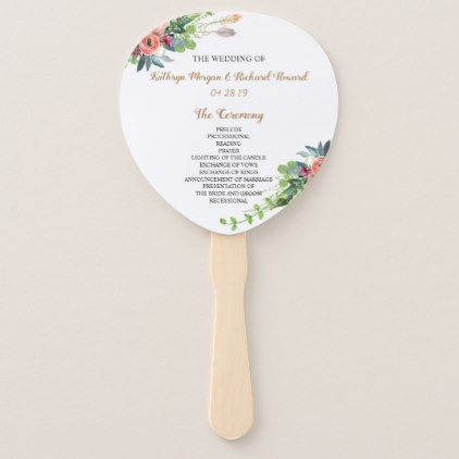 Chic Boho Country Floral Wedding Program Hand Fan - spring wedding diy marriage customize personalize couple idea individuel