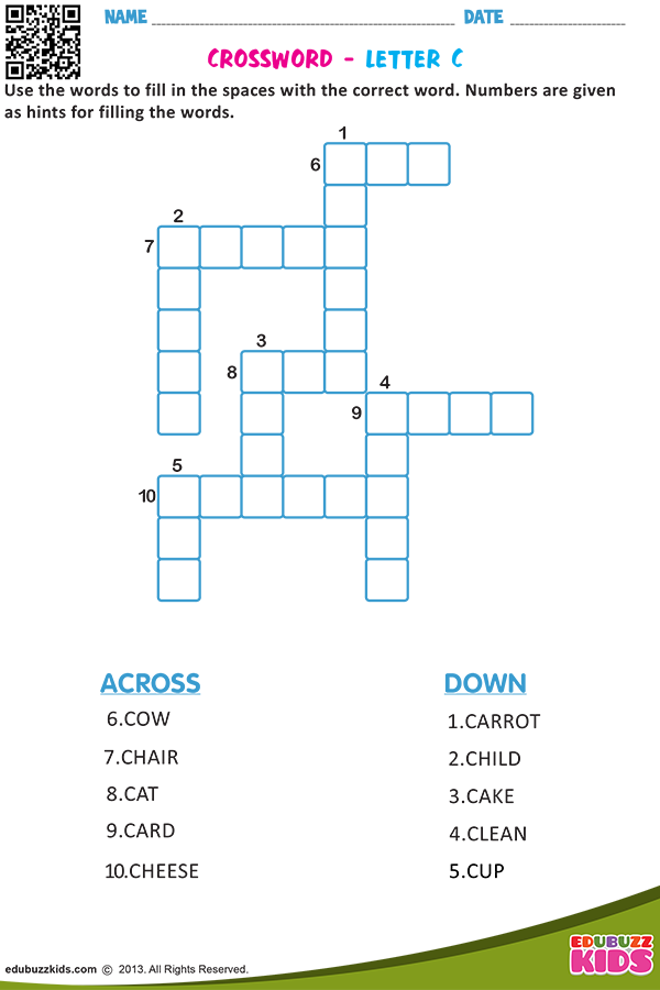 Kindergarten Crossword Worksheets With Printable Kids Will Be Able
