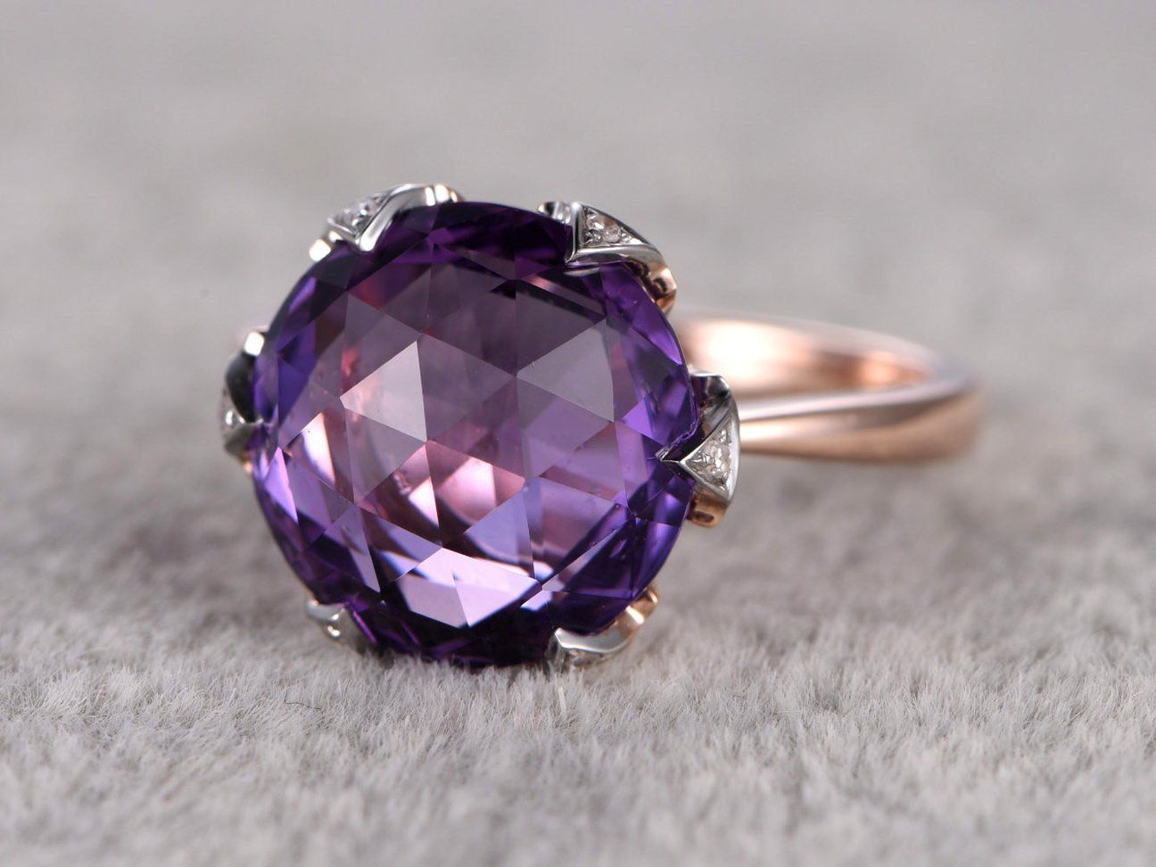 Big 12mm Amethyst Engagement Ring Diamond 6 Claw Wedding Ring 14k