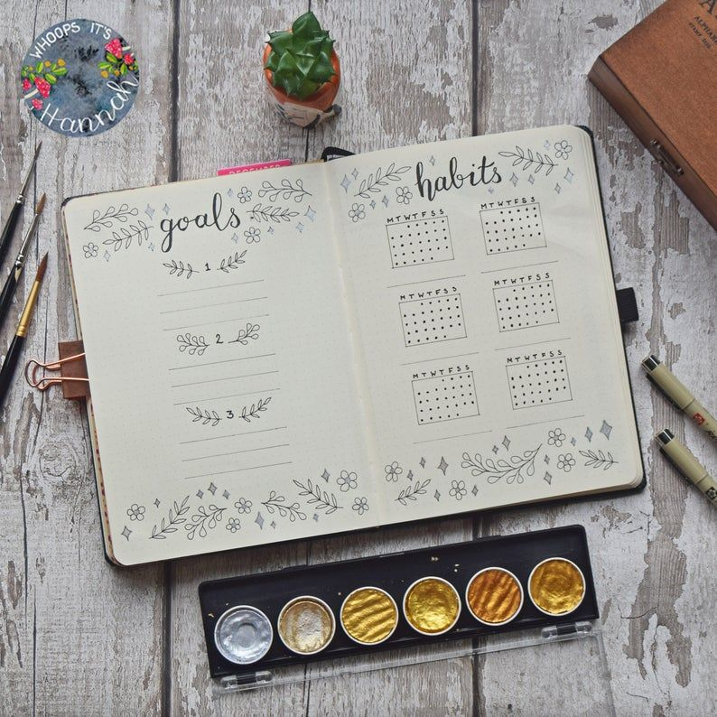 A5 Printable Bullet Journal Goal and Habit Tracker Spread  | Etsy