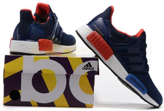7704b818f5a56 Adidas Ultra Boost NMD Couple running shoes Dark blue red