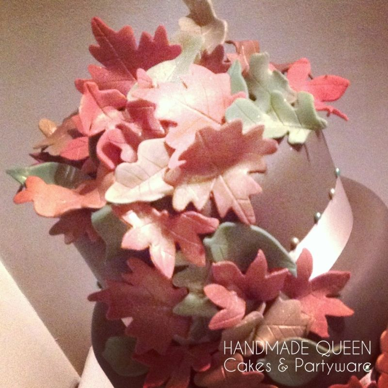 Autumn Leaves Wedding Cake in beautiful shimmering shades of gold