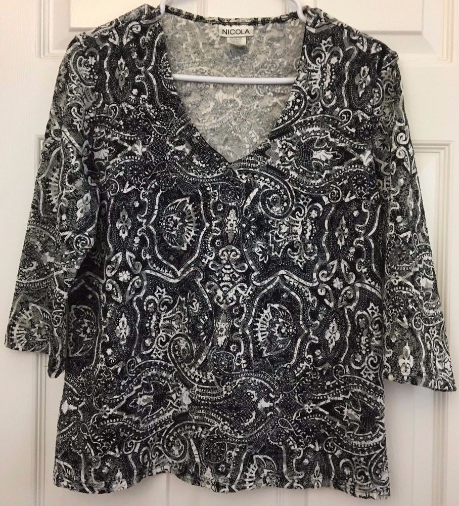 Nicola Lace Top 3/4 Sleeve Intricate Black/White Design Lined Front Size L USA  #Nicola #KnitTop #CareerCasualEvening