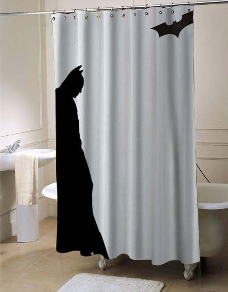 Leaning Batman shower curtain | Batman, Bath and Bathroom interior