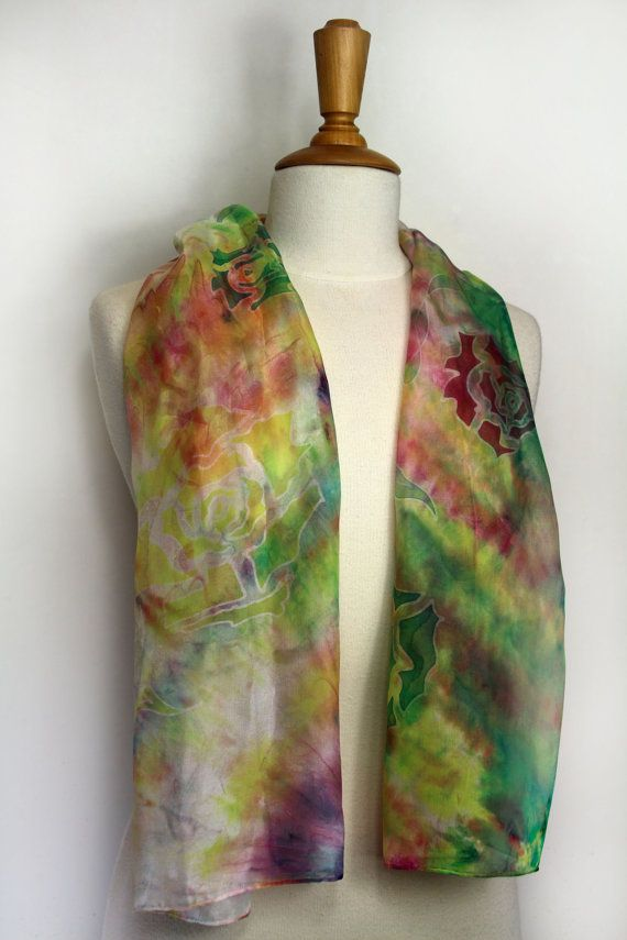 Pink and green silk scarf. Hand painted silk shawl. Wearable