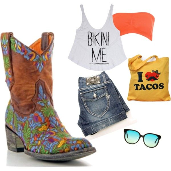 """""""Stay cool but look hot this summer in cowboy boots and jean shorts"""" by allensboots on Polyvore"""