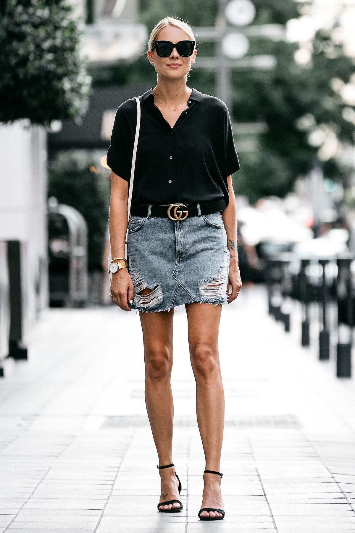 bb50b09f8c7 Blonde Woman Wearing Everlane Black Short Sleeve Shirt Topshop Ripped Denim  Skirt Outfit Gucci Marmont Belt Celine Trotteur White Handbag Black Ankle  Strap ...