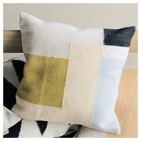 $90 Ferm Living Kelim Square Wool Throw Pillow