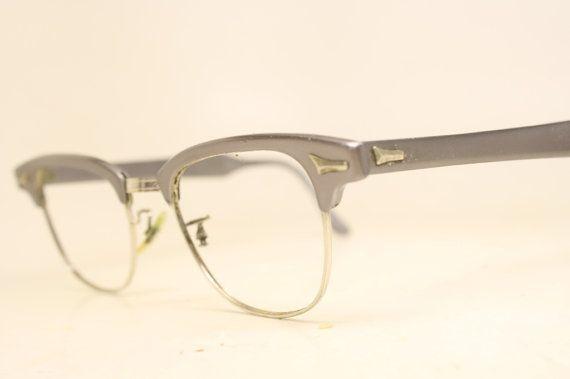Gray Browline 1950\'s Wire Rim Eyeglasses G Man Clubmaster | Eyewear ...