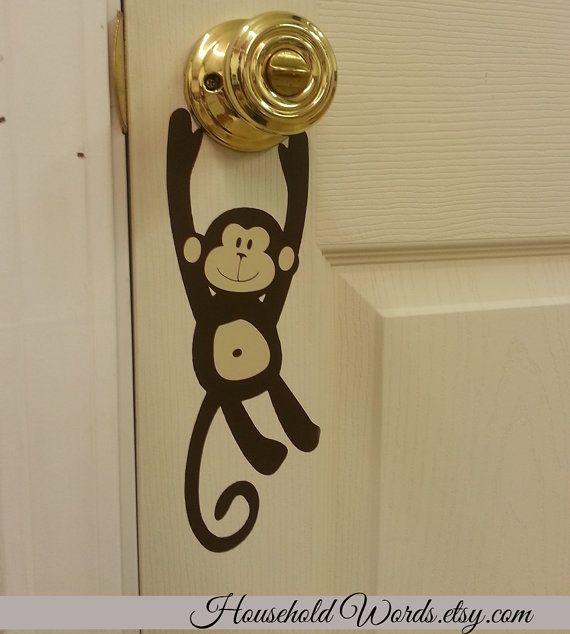 Monkey Door Knob vinyl decal hanger Door Decals by HouseHoldWords & An absolutely sweet little monkey ; perfect to dress up your door ...
