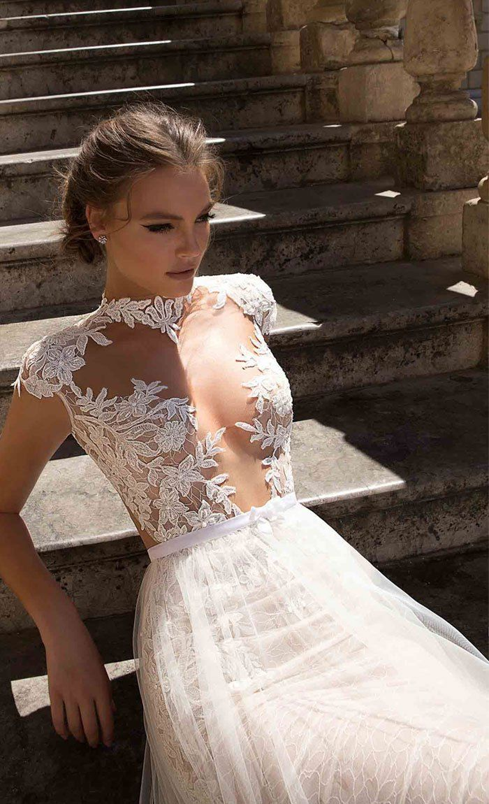 Cap sleeve lace wedding dressshort sleeve high neck wedding dress