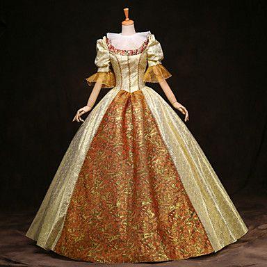 steampunk®top vendita maniche lunghe abito stampa oro del vestito da partito vittoriano partito reale veste lunga promenade del 2016 a €257.73