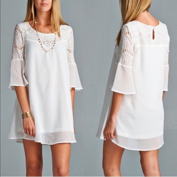 XX The ELI GREY chiffon shift dress - OFF WHITE HP 7/31Solid, chiffon shift dress featuring a sweetheart lace yoke and sleeves. 3/4 bell sleeves. Lined. Non-sheer. Lightweight. 70%COTTON 30%POLYESTER NO TRADE Dresses