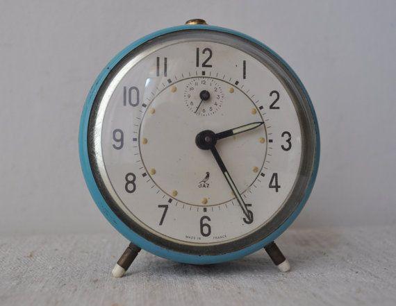 Vintage French Alarm Clock Blue Clocks Vintage Alarm Clocks