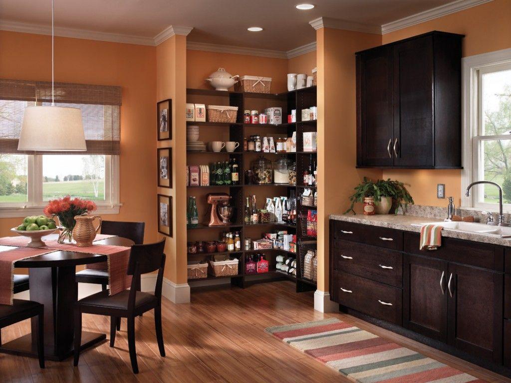 Awesome Orange Wooden Style Corner Walk In Pantry Shelves Design ...