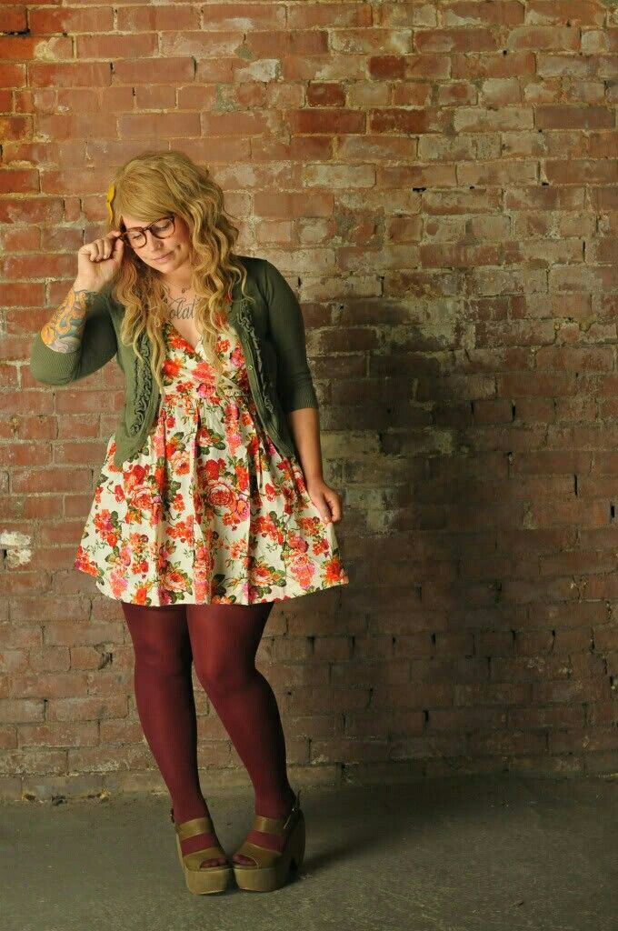 I dig this aesthetic- dress, cardigan, tights, fun colors ...