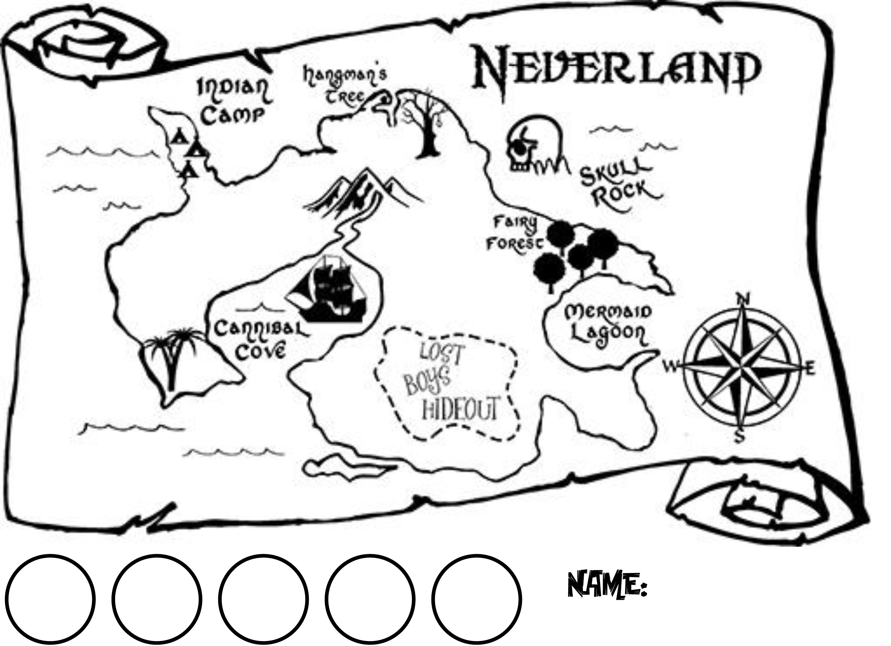 horizontal map of neverland with circles for collecting 1