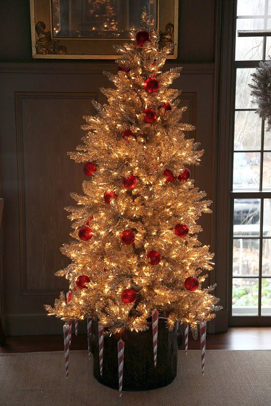 Tinsel Tree With Red Balls And Candy Cane Icicles Silver Christmas Tree Holiday Christmas Tree Colorful Christmas Tree