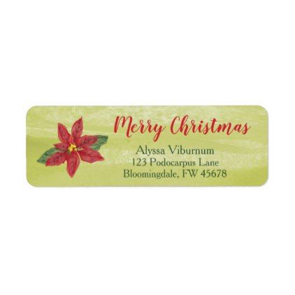Merry Christmas Watercolor Floral Address Label Return address