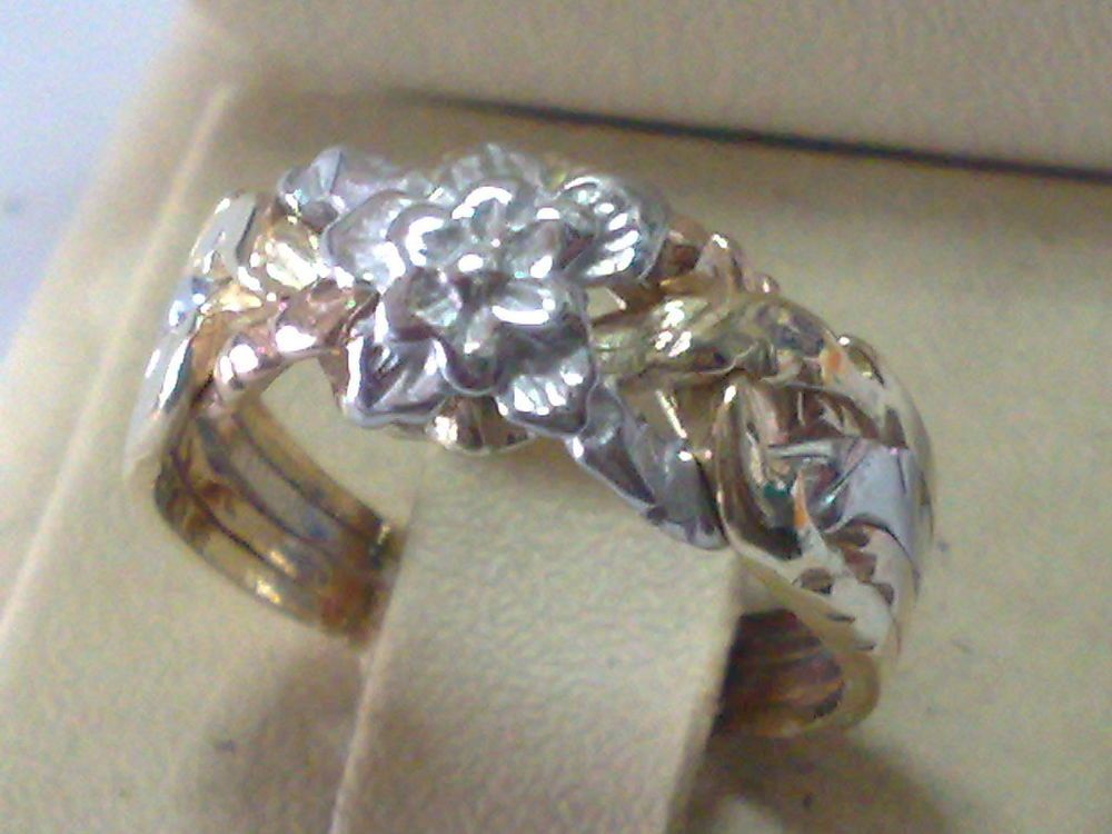 Rose Design Yellow & White 14k Gold 4 Band Turkish Puzzle Ring