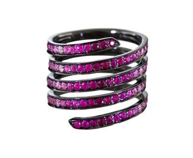 Lynn Ban Ombré Pavé Sapphire & Ruby Coil ring CogUrHiaQ7