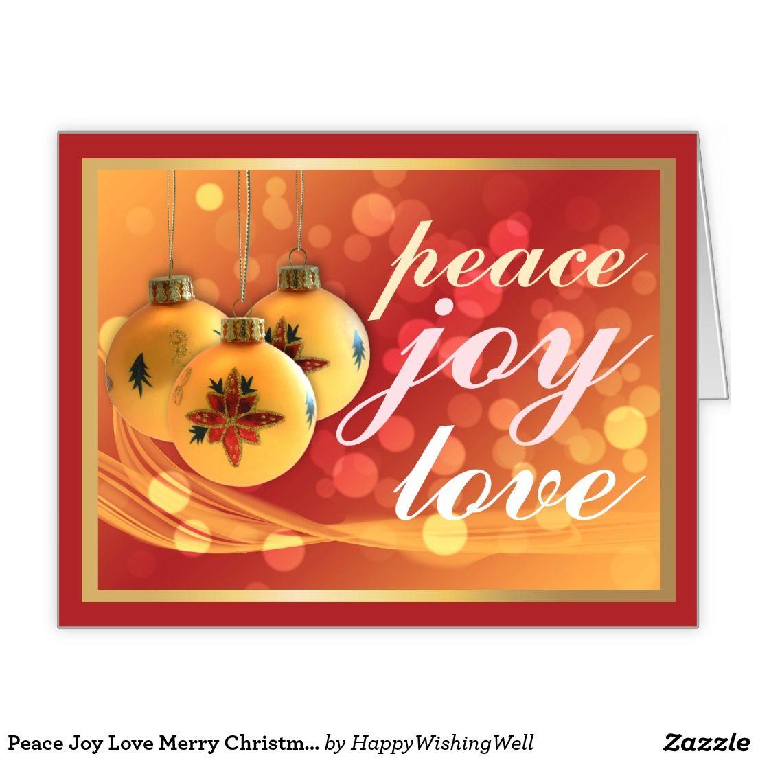 Peace Joy Love Merry Christmas Red Gold Festive Large